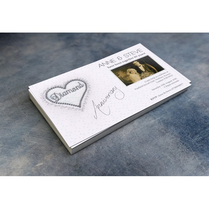 60th Wedding Invitations & Envelopes - Design No 2