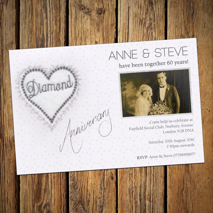 60th Wedding Invitations & Envelopes - Design No 2