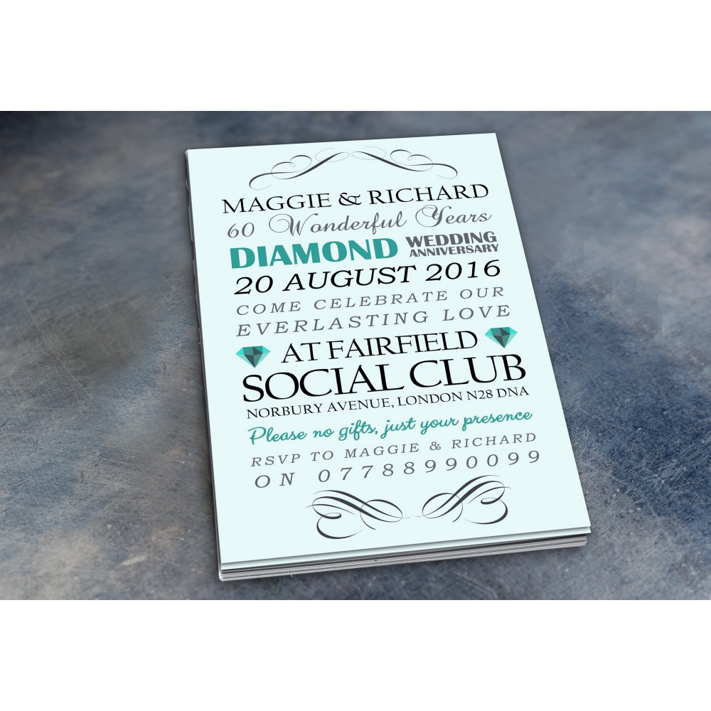 60th Wedding Invitations & Envelopes - Design No 3