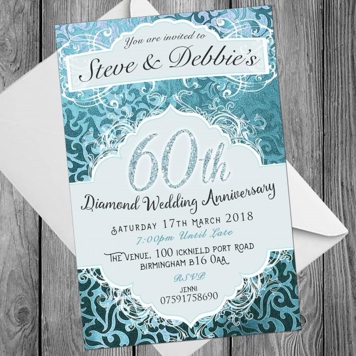 60th Wedding Invitations & Envelopes - Design No 6