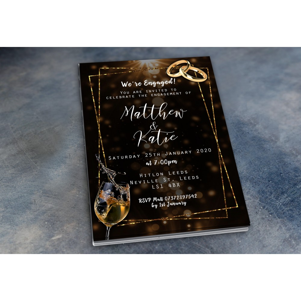 Engagement Party Invitations & Envelopes - Sparkly Wine