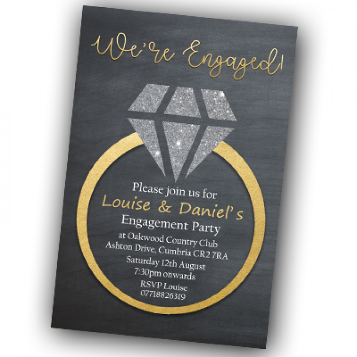 Engagement Party Invitations & Envelopes - Gold Diamond