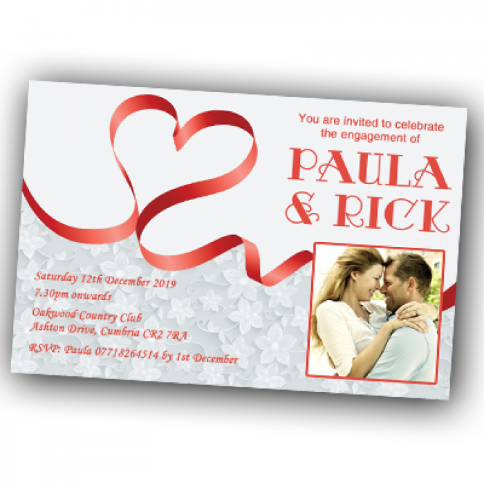 Engagement Party Invitations & Envelopes - Heart Ribbon