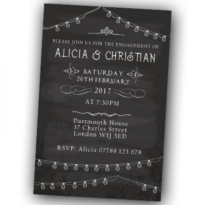 Engagement Party Invitations & Envelopes - Chalkboard
