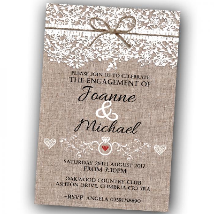 Engagement Party Invitations & Envelopes - Lace