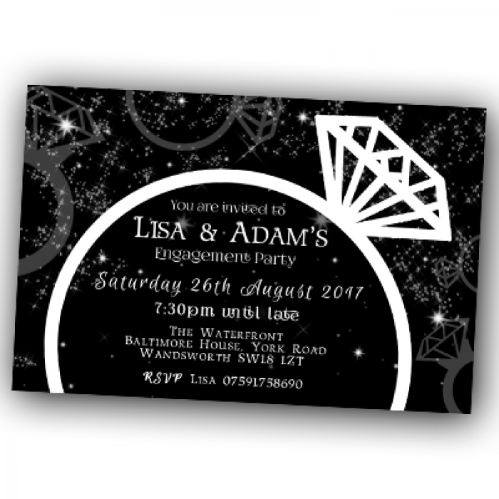 Engagement Party Invitations & Envelopes - Sparkling Rings