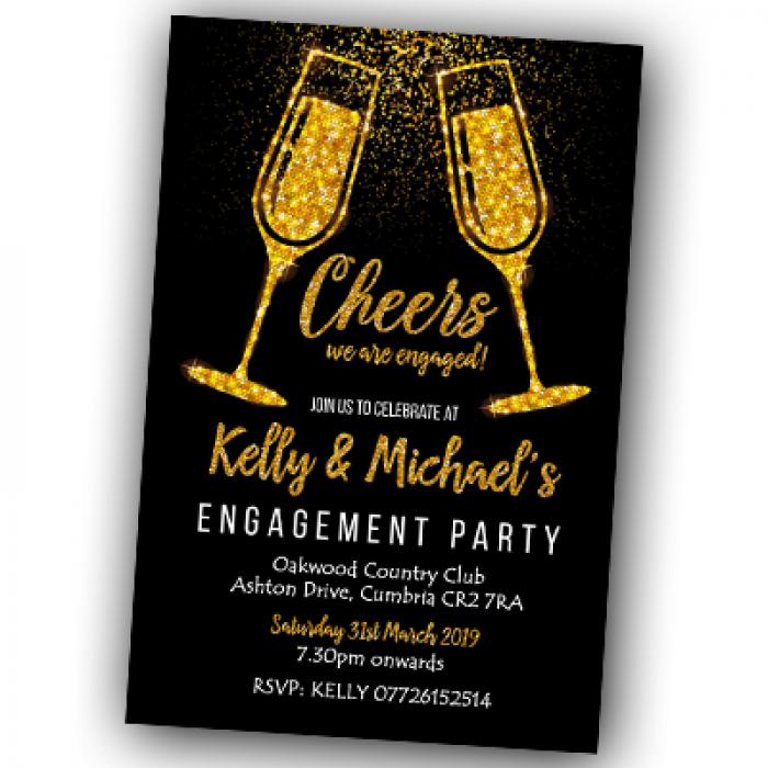 Engagement Party Invitations & Envelopes - Glitter Flutes