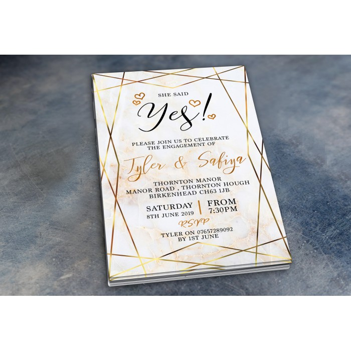 Engagement Party Invitations & Envelopes - Gold Marble