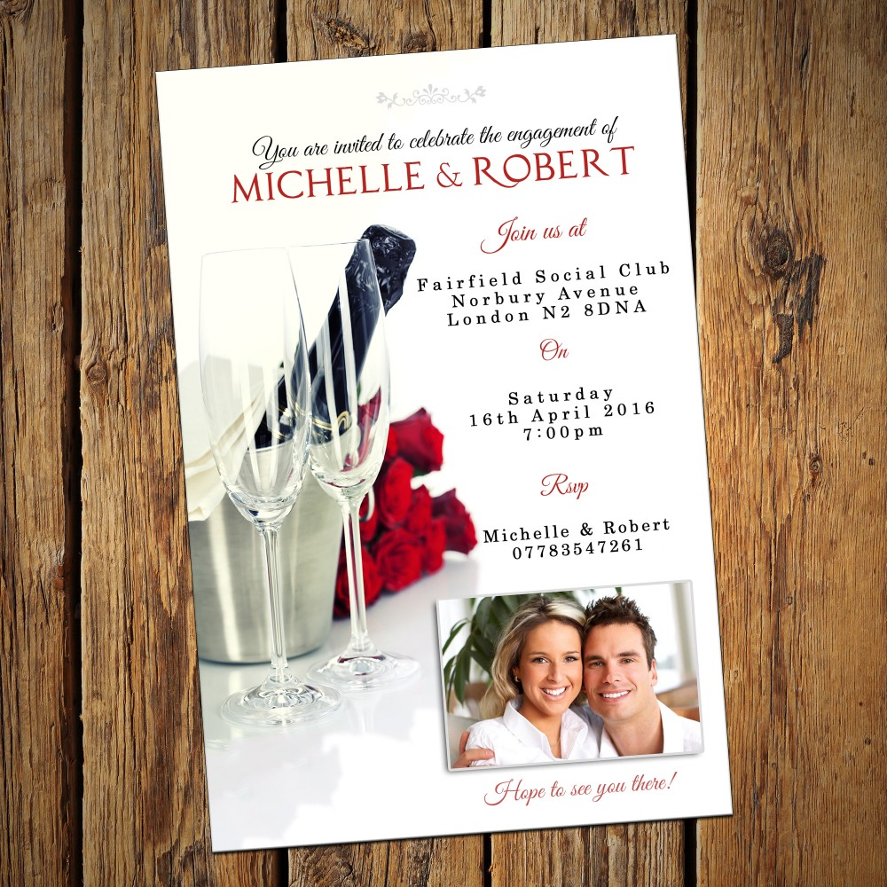 Engagement Party Invitations & Envelopes - Champagne Roses
