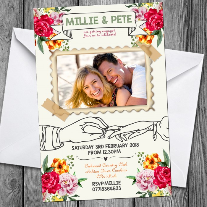 Engagement Party Invitations & Envelopes - Floral Photo