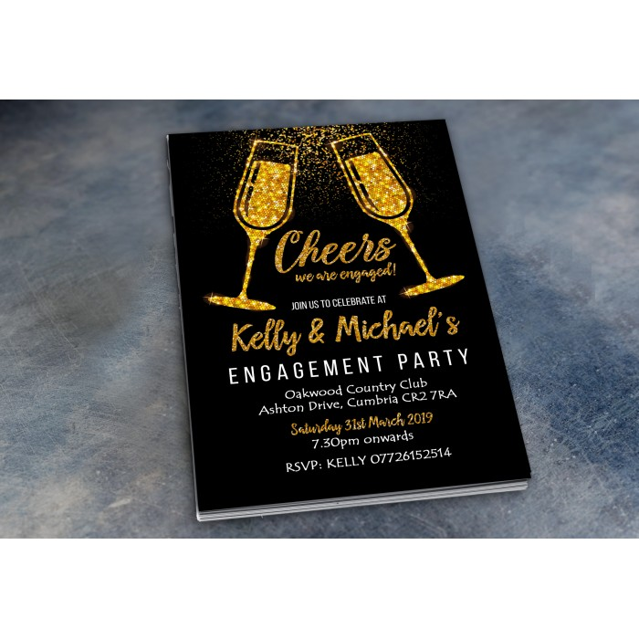 Engagement Party Invitations & Envelopes - Glitter Flutes