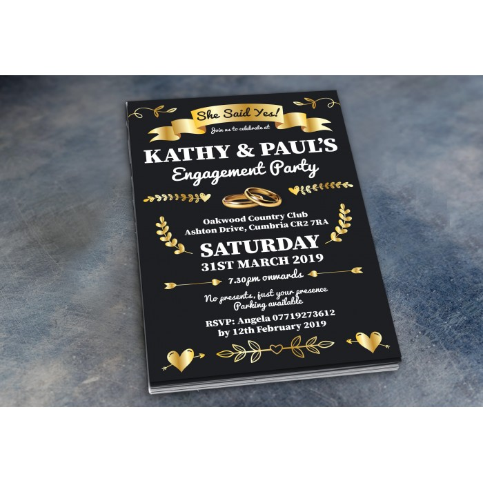 Engagement Party Invitations & Envelopes - Gold Rings