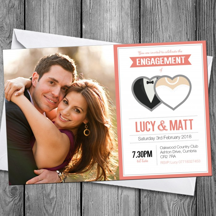 Engagement Party Invitations & Envelopes - Hearts Photo