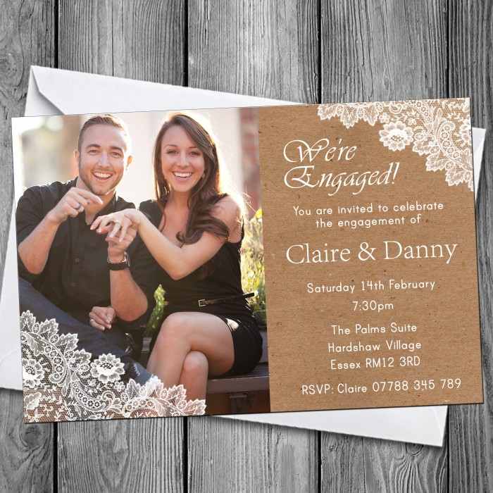 Engagement Party Invitations & Envelopes - Lace Photo