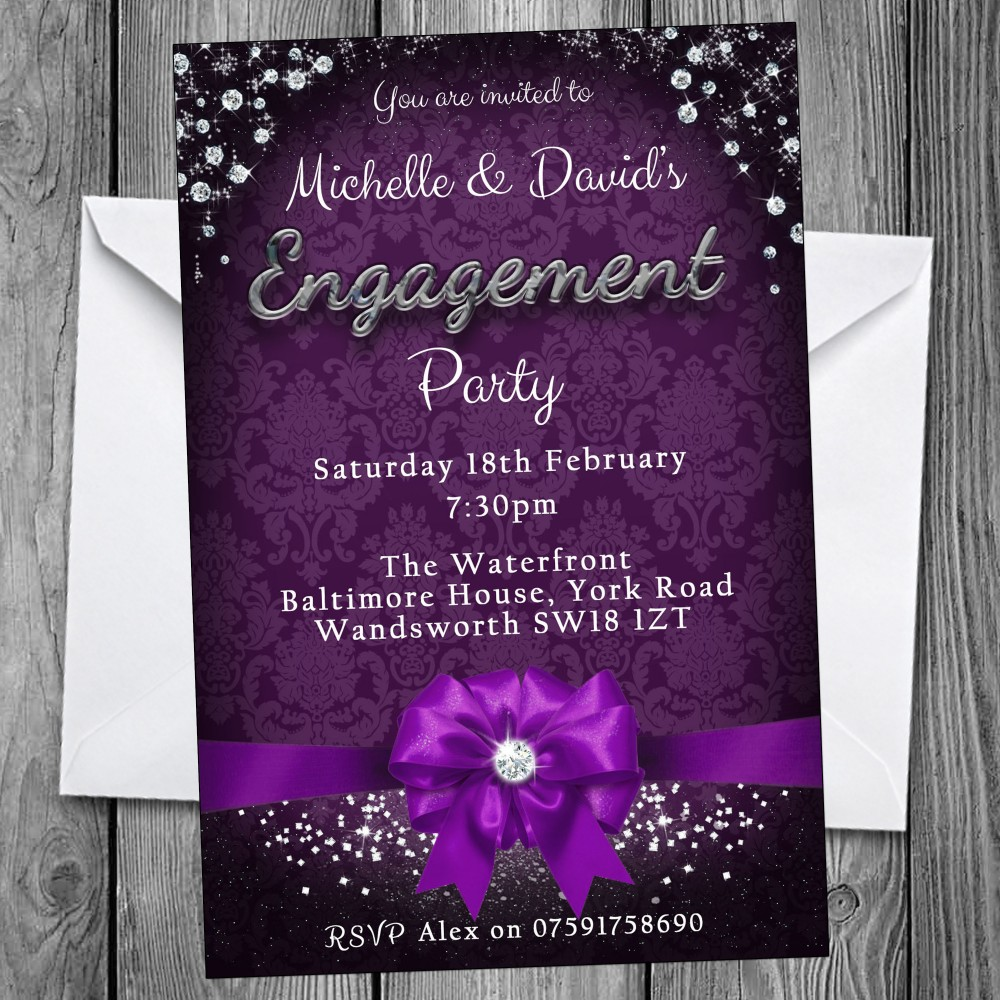Engagement Party Invitations & Envelopes - Bow & Sparkle