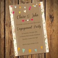 Engagement Party Invitations & Envelopes - Bunting