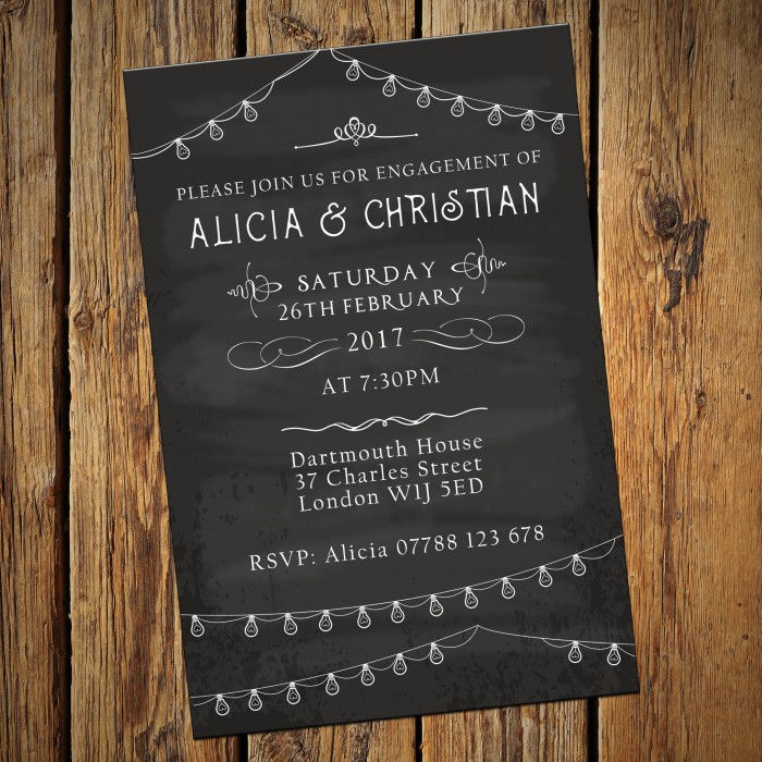 Engagement Party Invitations & Envelopes - Chalkboard