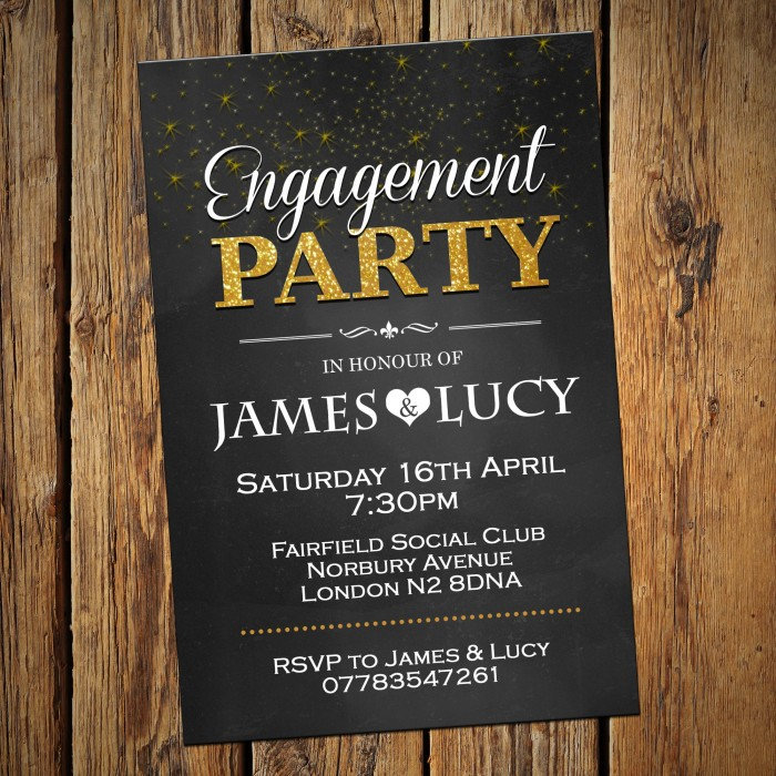 Engagement Party Invitations & Envelopes - Golden stars