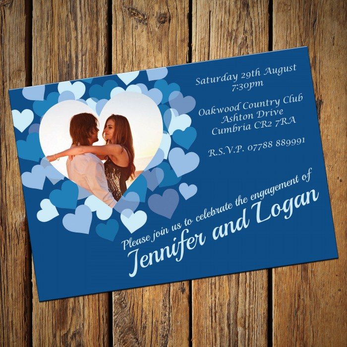 Engagement Party Invitations & Envelopes - Blue Heart
