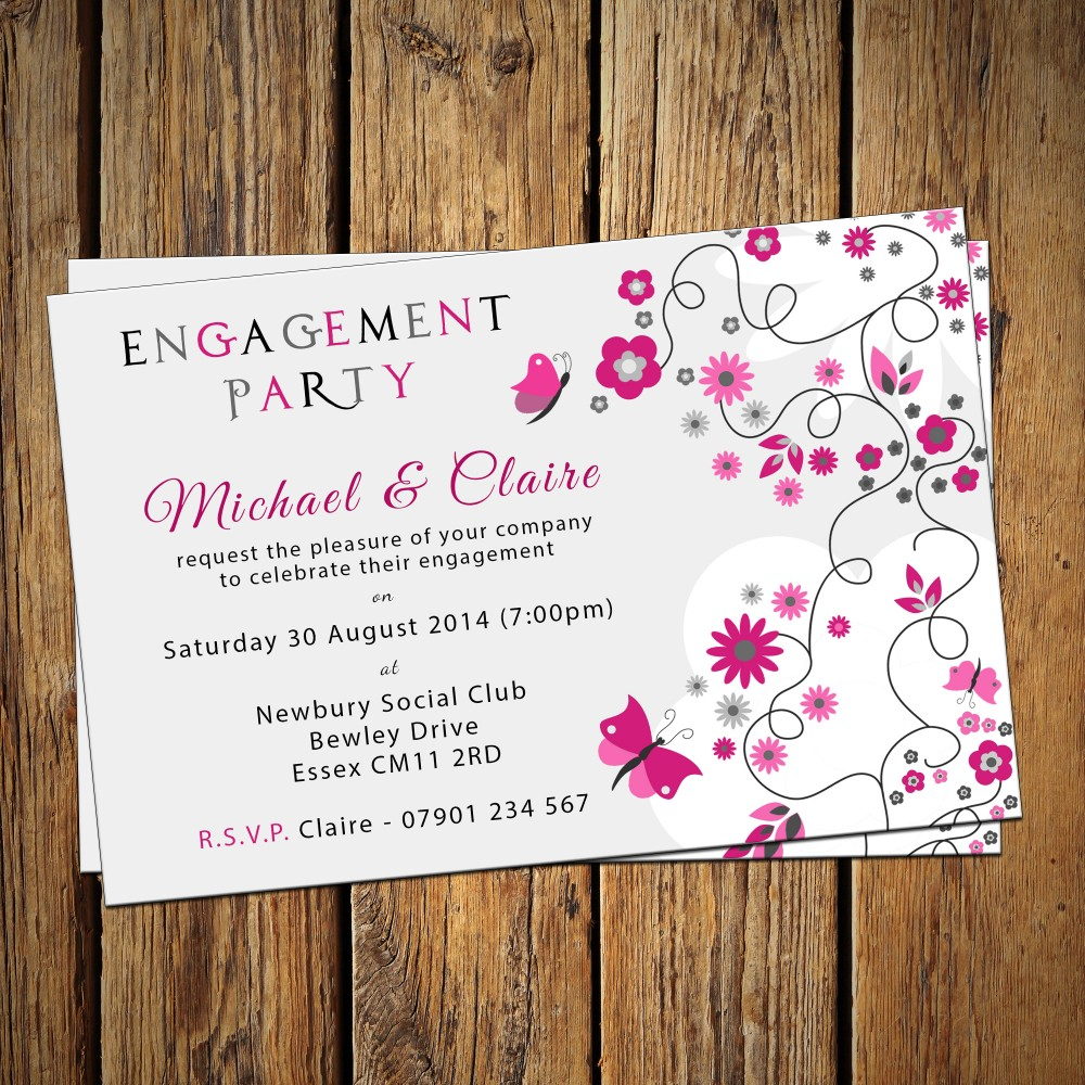 Engagement Party Invitations & Envelopes - Butterflies