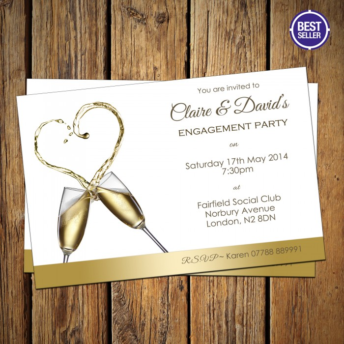 Engagement Party Invitations & Envelopes - Champagne Heart