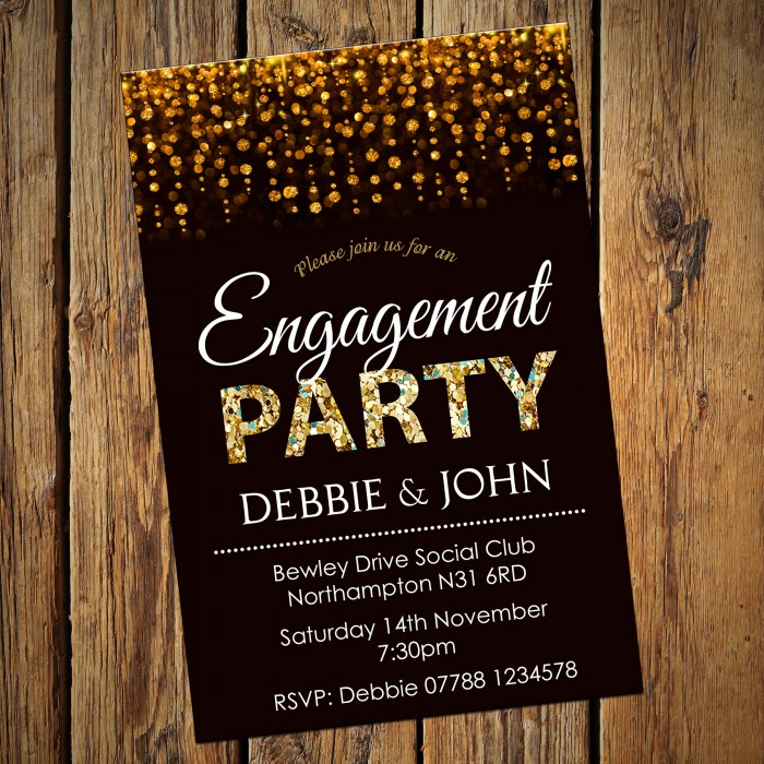 Engagement Party Invitations & Envelopes - Gold Sparkle