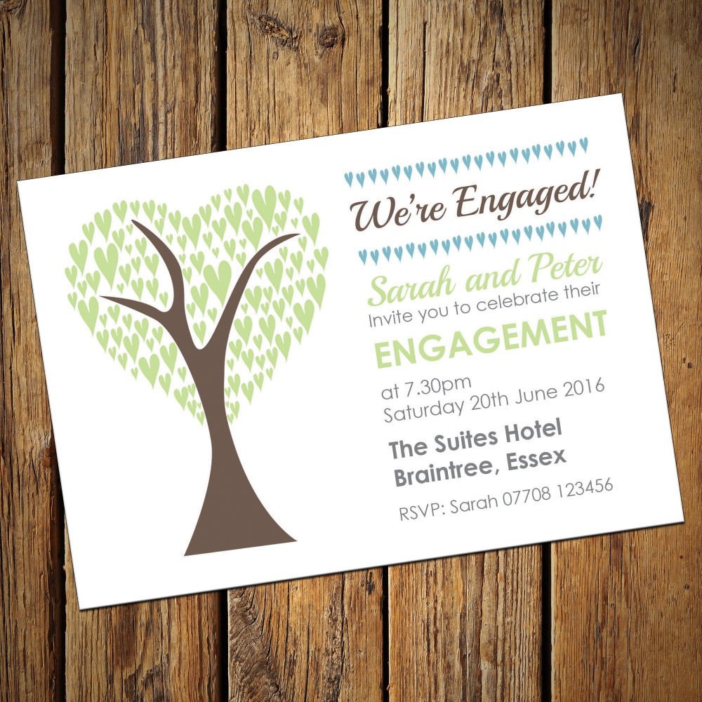 Engagement Party Invitations & Envelopes - Green Tree
