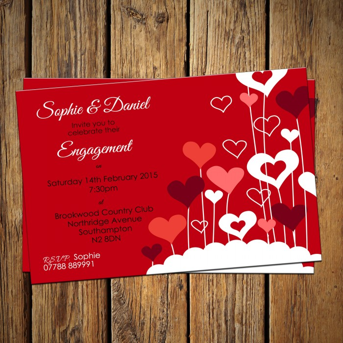 Engagement Party Invitations & Envelopes - Heart Balloons