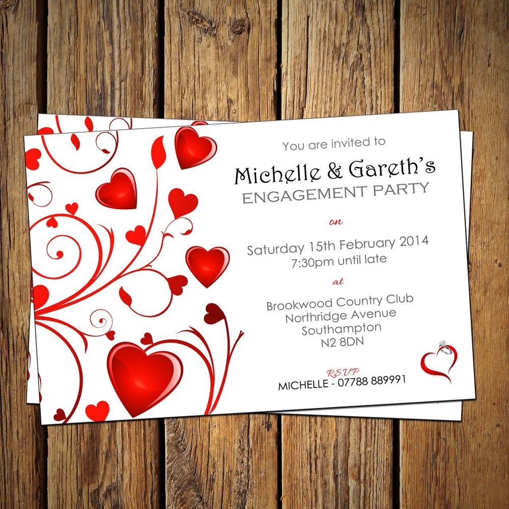 Engagement Party Invitations & Envelopes - Heart Pattern