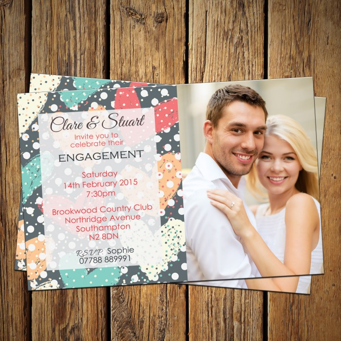 Engagement Party Invitations & Envelopes - Heart Polka Dot
