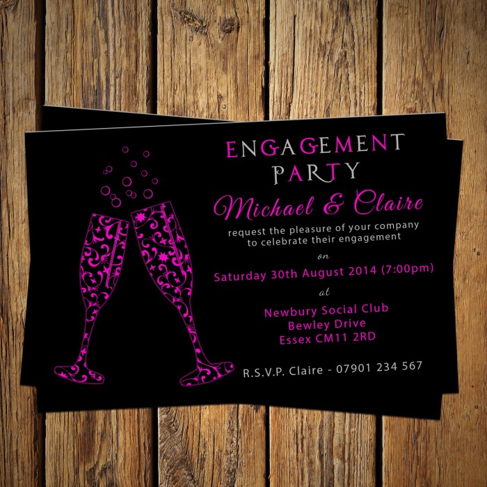 Engagement Party Invitations & Envelopes - Pink Flute