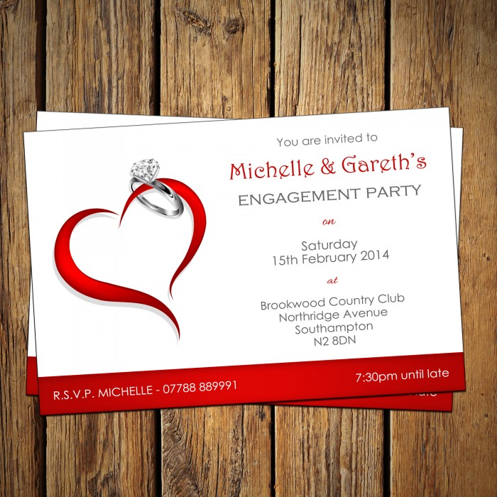 Engagement Party Invitations & Envelopes - Heart Ring