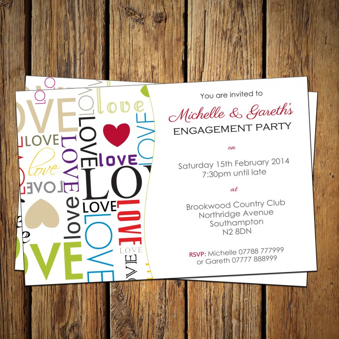 Engagement Party Invitations & Envelopes - Love Words