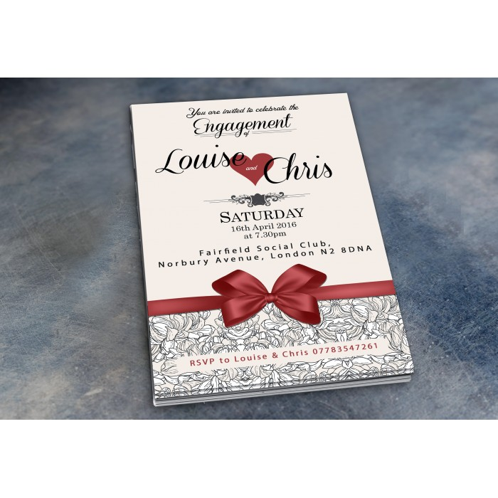Engagement Party Invitations & Envelopes - Bow & Heart