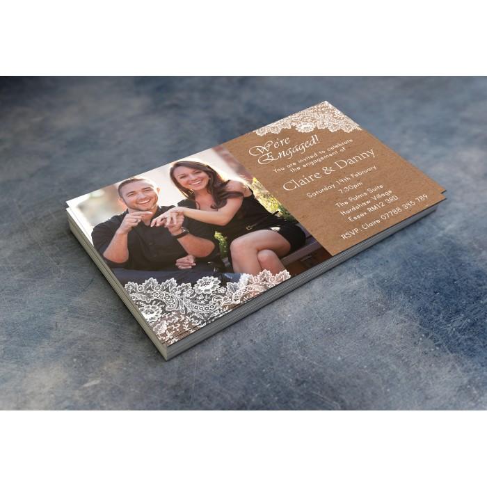 Engagement Party Invitations & Envelopes - Lace Photo