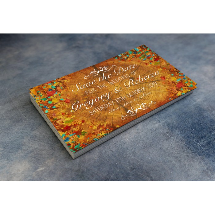 Wedding Save the Date & Envelopes - Autumn Leaves