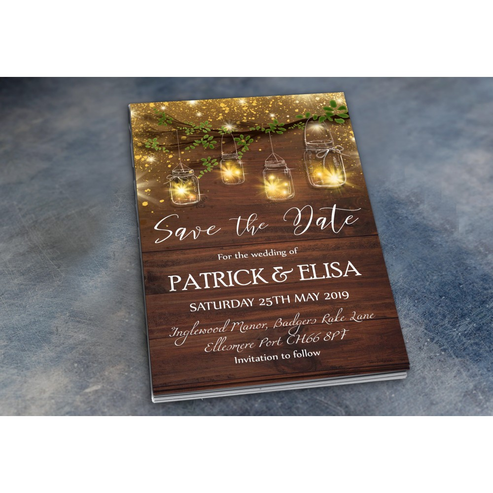 Wedding Save the Date & Envelopes - Rustic Jars