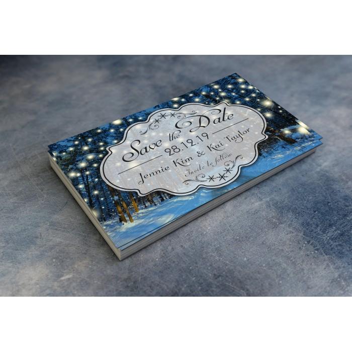 Wedding Save the Date & Envelopes - Winter Wonderland