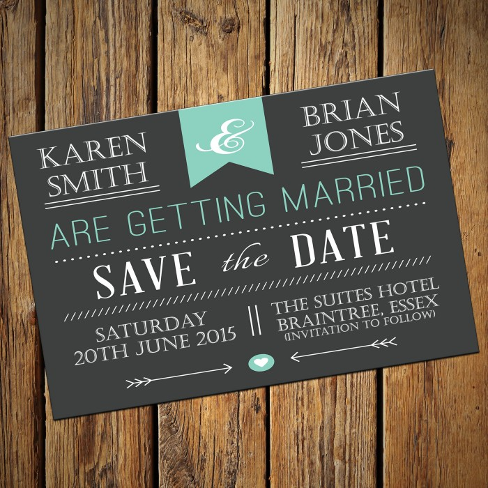 Wedding Save the Date & Envelopes - Design No 1
