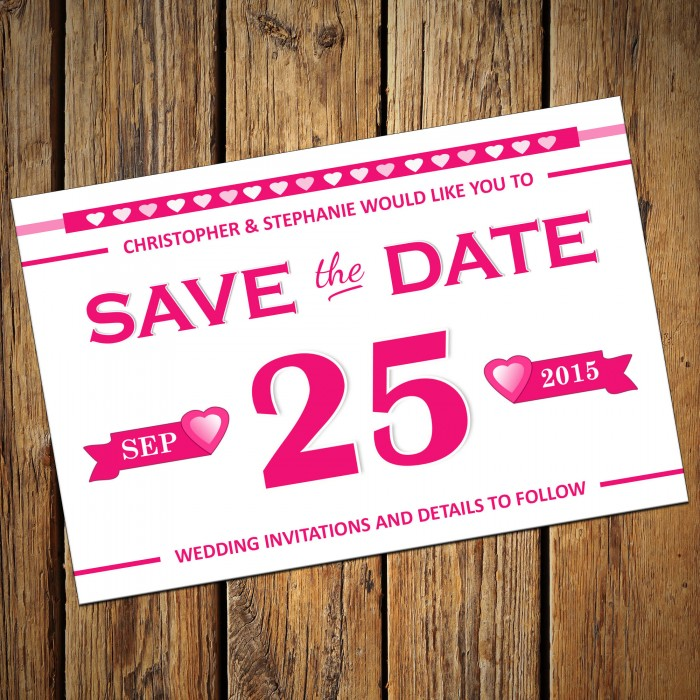 Wedding Save the Date & Envelopes - Design No 11