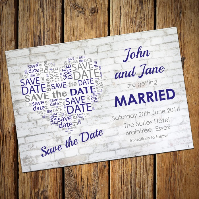 Wedding Save the Date & Envelopes - Design No 17