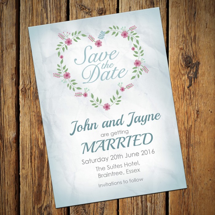 Wedding Save the Date & Envelopes - Design No 18
