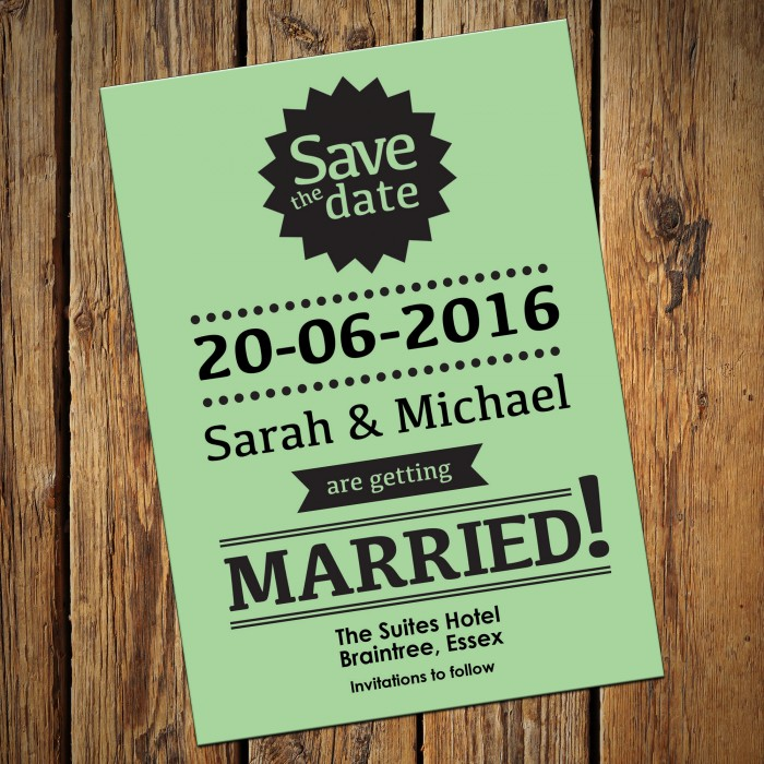 Wedding Save the Date & Envelopes - Design No 19
