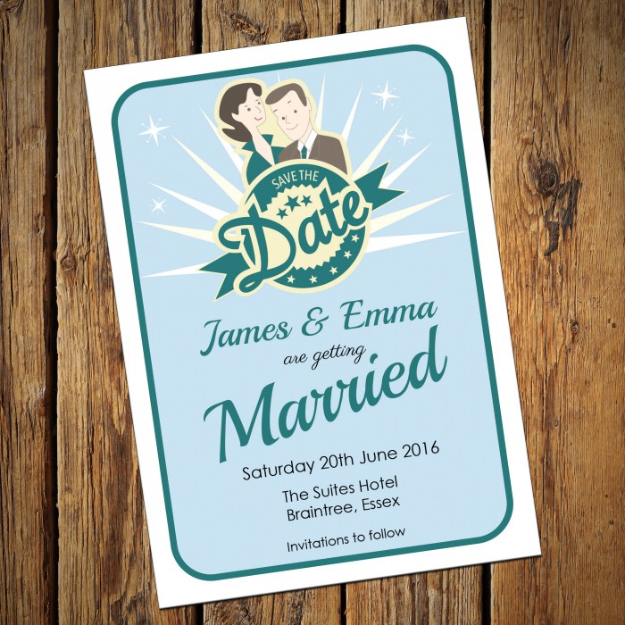 Wedding Save the Date & Envelopes - Design No 20