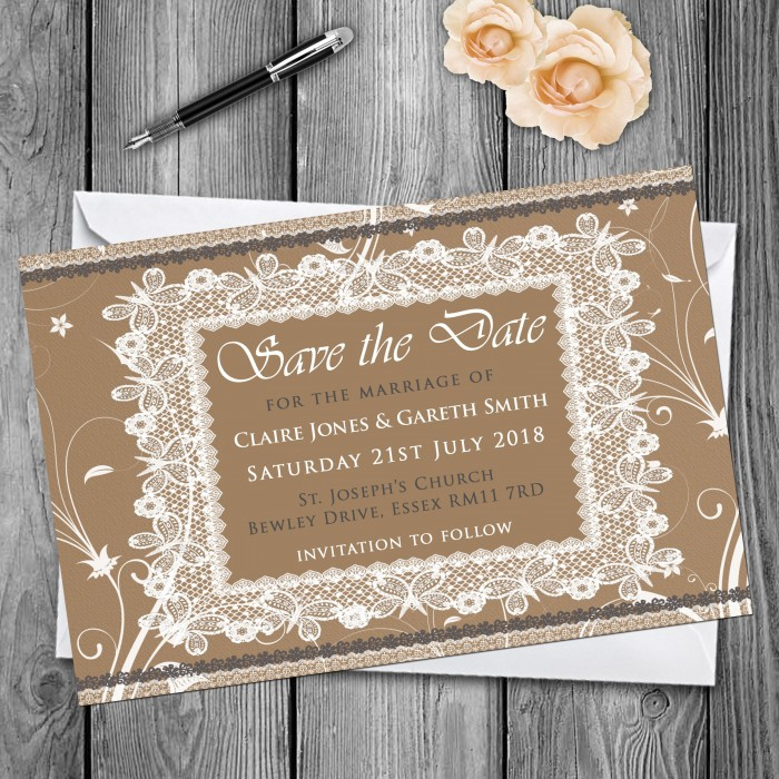 Wedding Save the Date & Envelopes - Design No 25