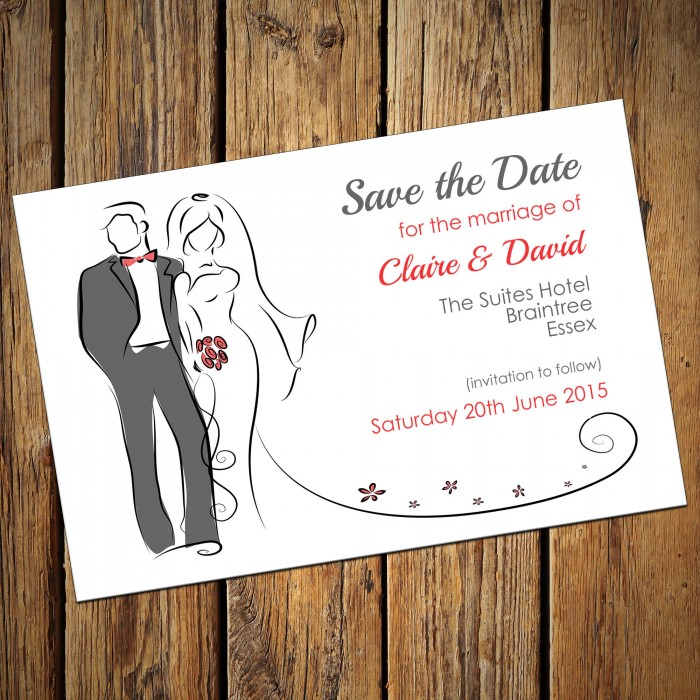 Wedding Save the Date & Envelopes - Design No 3