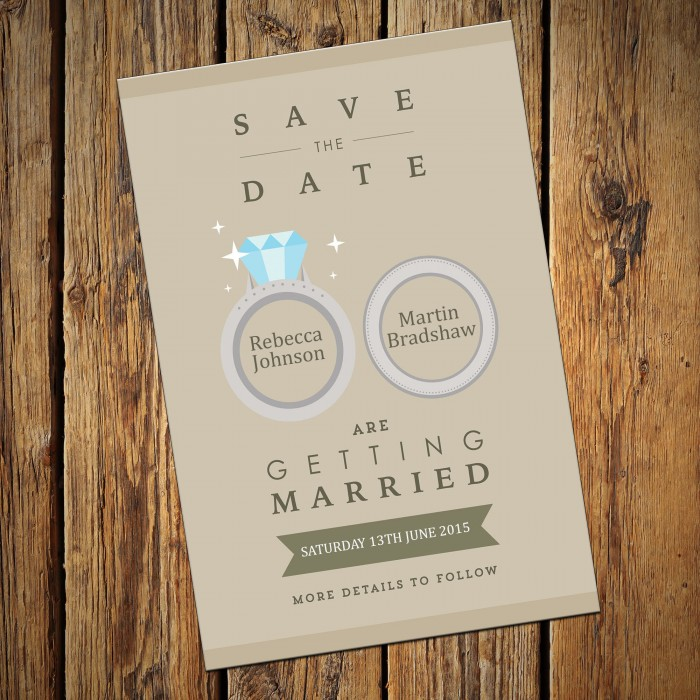 Wedding Save the Date & Envelopes - Design No 5
