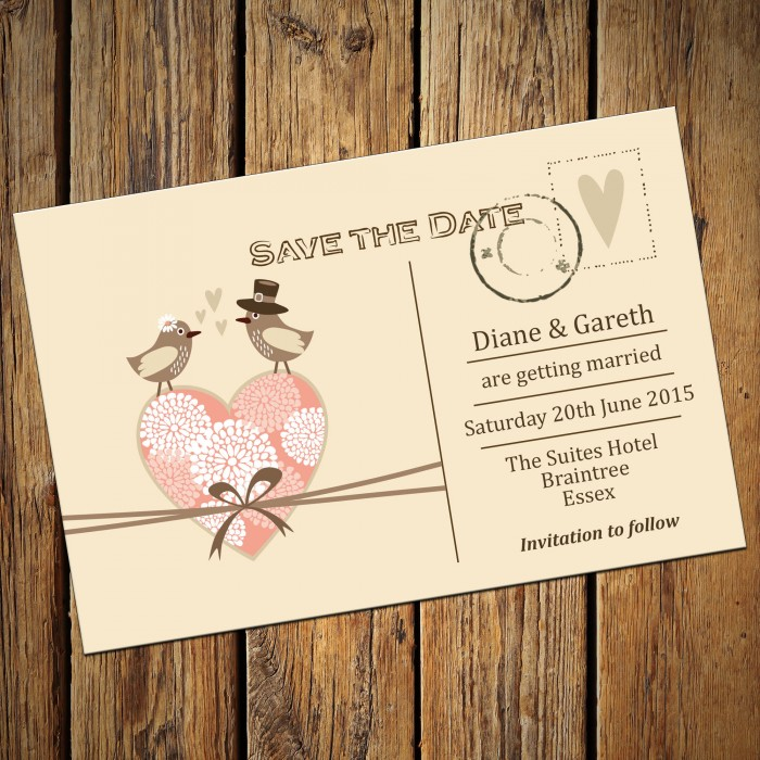 Wedding Save the Date & Envelopes - Design No 6