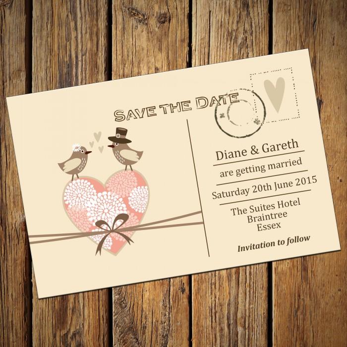 Wedding Save the Date & Envelopes - Design No 6