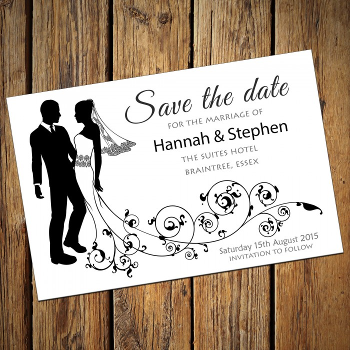 Wedding Save the Date & Envelopes - Design No 8